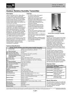 Hx-67x3 Series Outdoor Relative Humidity Transmitter Catalog Page