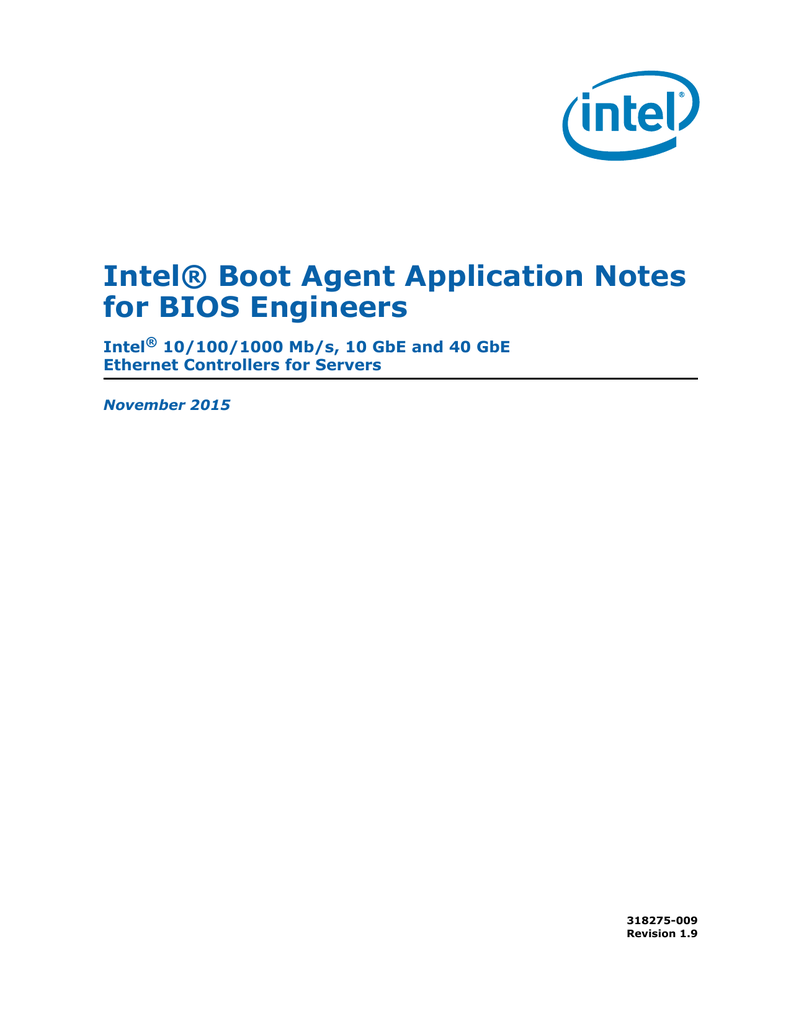 Intel® Boot Agent Application Notes for BIOS Engineers