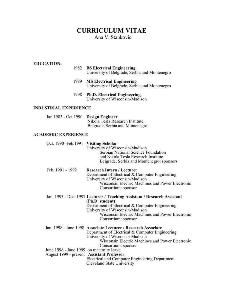 Curriculum Vitae Academic Csuohio