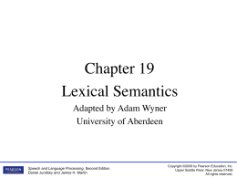 Lexical Semantics - Homepages | The University of Aberdeen