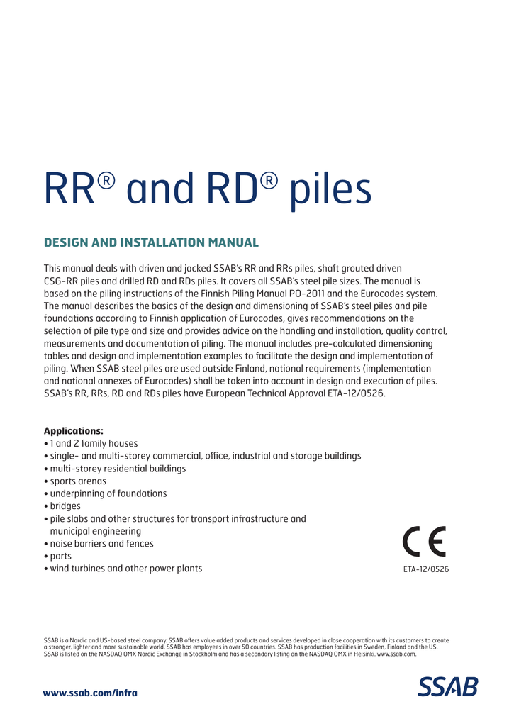 RR and RD piles design and installation manual
