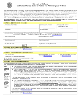 Certificate of Foreign Status for Federal Tax Withholding (UC W