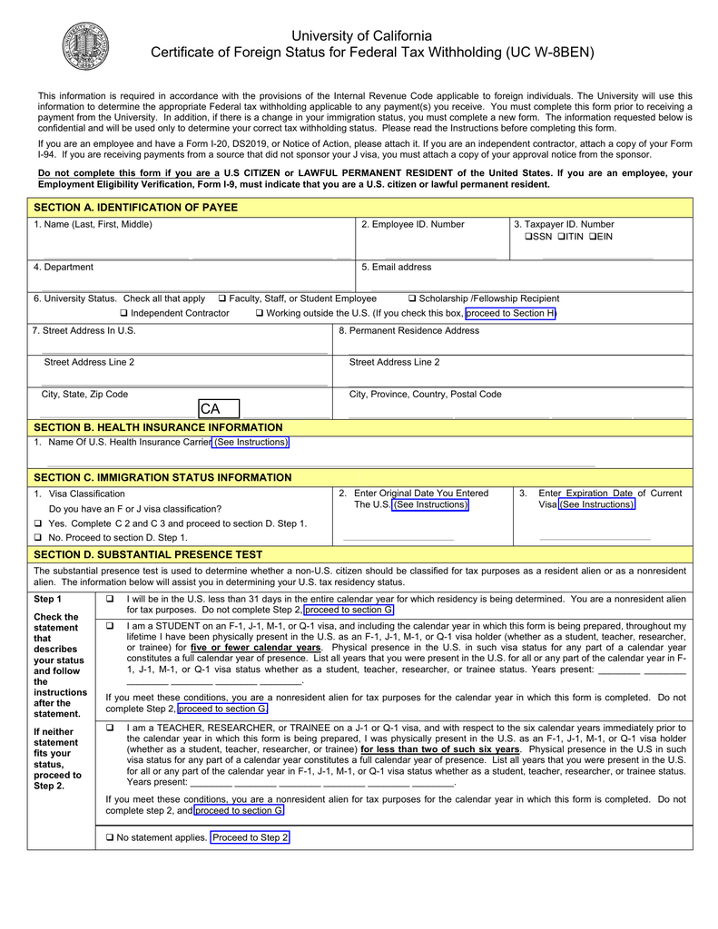 Certificate Of Foreign Status For Federal Tax Withholding Uc W