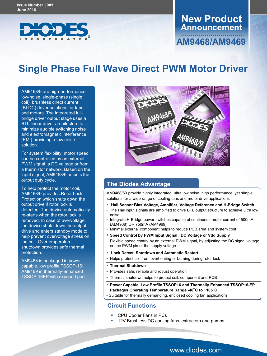 New Product Single Phase Full Wave Direct PWM Motor Driver