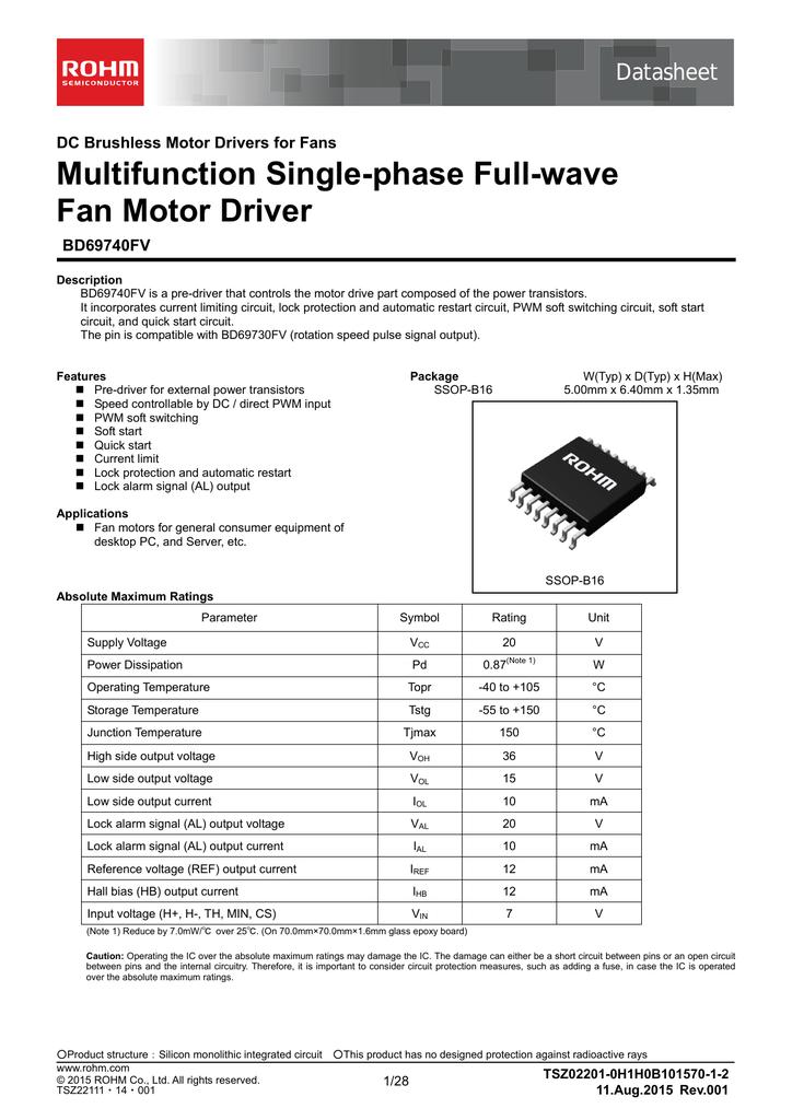 multifunction single phase full wave fan motor driver rh studylib net