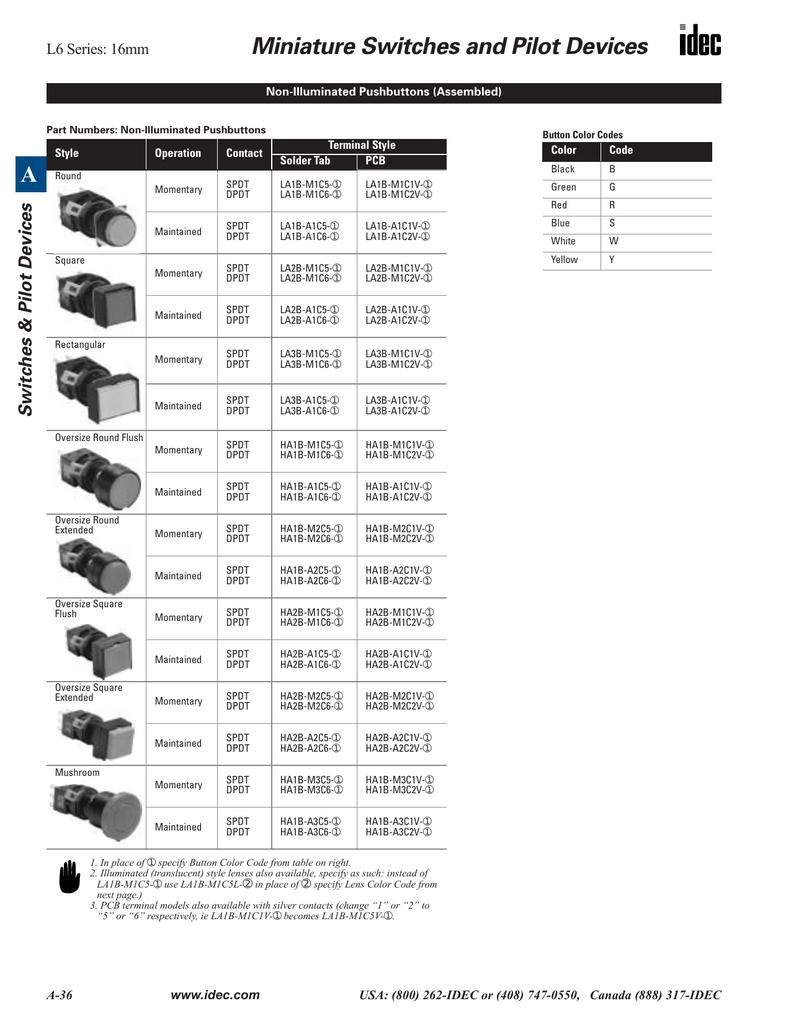 16 MM PUSHBUTTON LED 24V WHITE SQUARE REPLACE IDEC L6