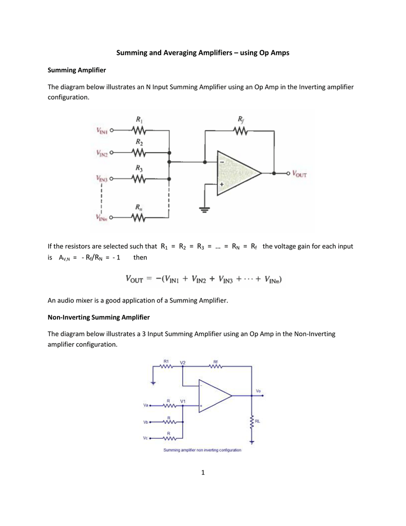 Peachy Summing And Averaging Amplifiers Using Op Wiring 101 Capemaxxcnl