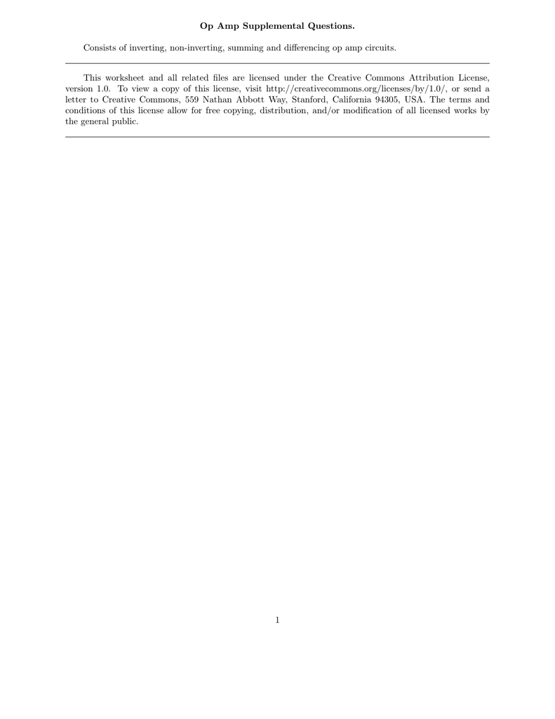 Op Amp Supplemental Questions Consists Of Inverting Non Circuit