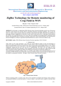 ZigBee Technology for Remote monitoring of Crop Field