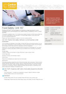 Food Safety: Unit 167