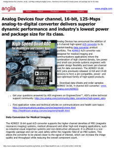 Analog Devices four channel, 16-bit, 125-Msps analog-to