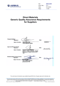 Direct Materials Generic Quality Assurance Requirements for