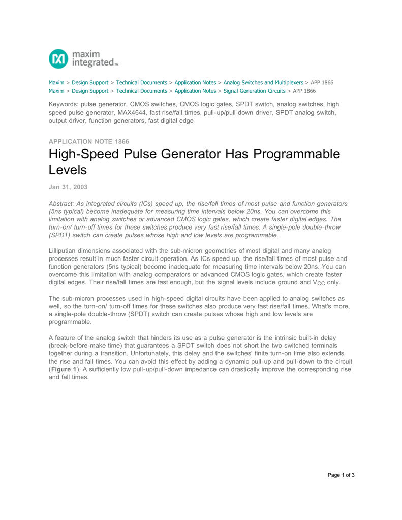 High Speed Pulse Generator Has Programmable Levels Logic Gate Waveform Generation