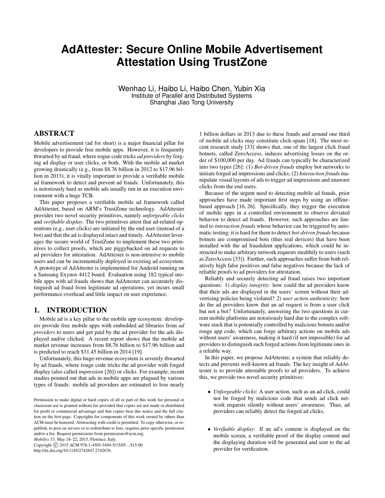 AdAttester: Secure Online Mobile Advertisement Attestation Using