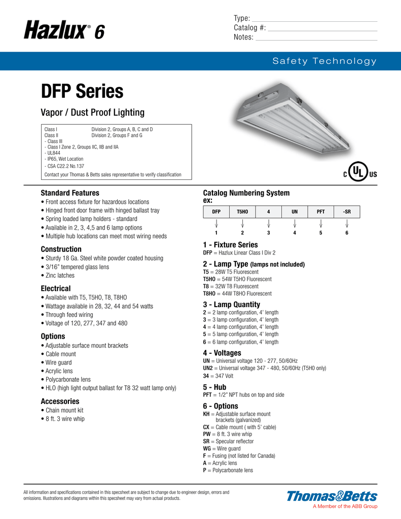 Specification Sheet 8 Foot Fluorescent Light Fixture Wiring