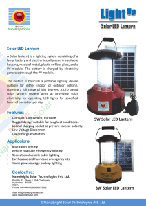 Solar LED Lanterns - NanoBright Solar Technologies