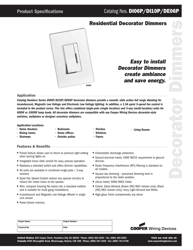 Decorator Dimmers Cooper Wiring Devices Inc