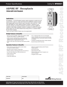Aspire RF RF9505-T Spec Sheet - SmartHome