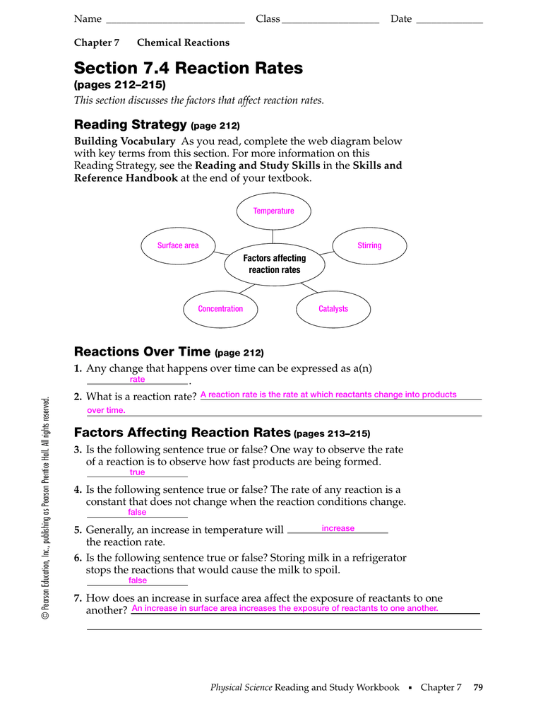 Worksheets Reaction Rates Worksheet 7 4 key