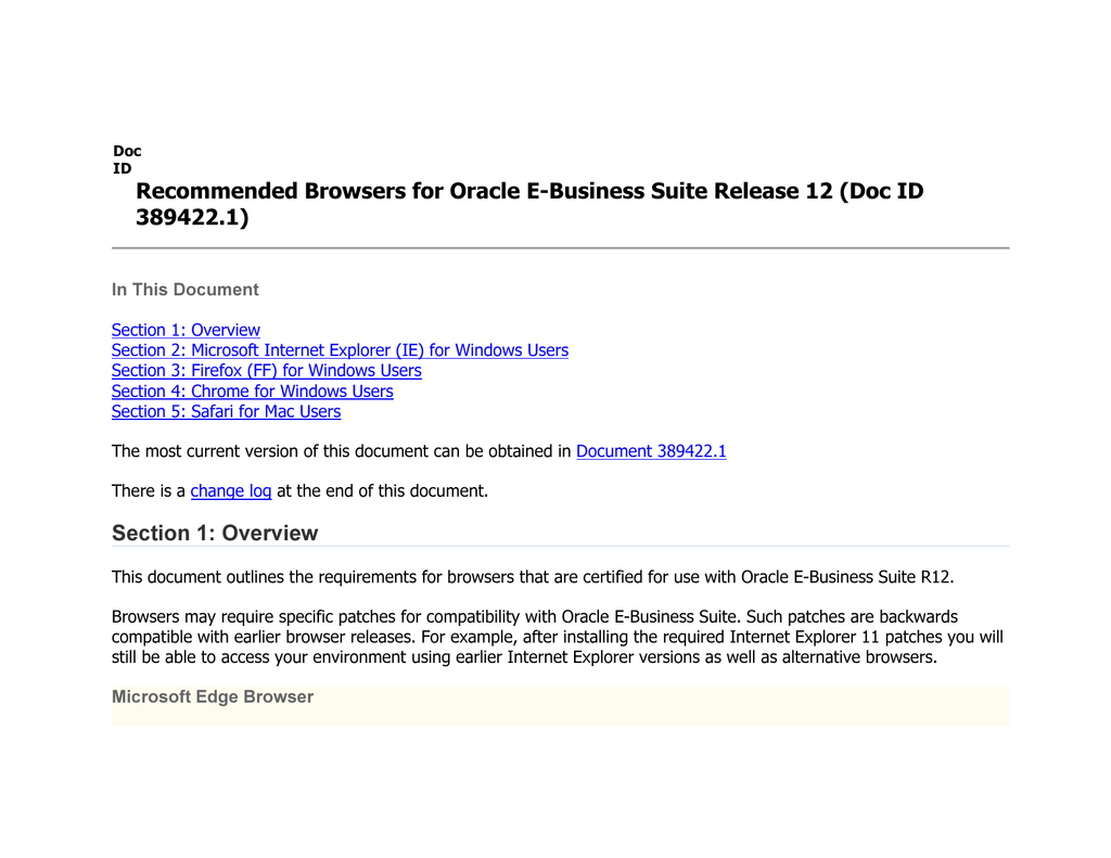 Recommended Browsers for Oracle E-Business