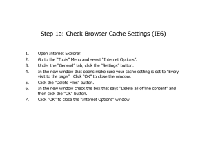 Step 1a: Check Browser Cache Settings (IE6)