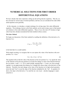 numerical solutions for first order differential equations