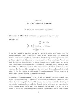 Chapter 1 First Order Differential Equations §1 What is a differential