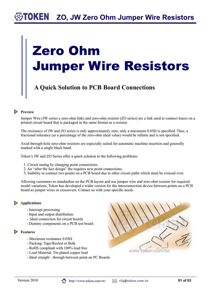 Zero Ohm and Jumper Wire Resistors - ZO, JW