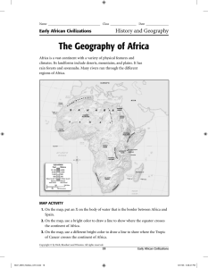 The Geography of Africa HW