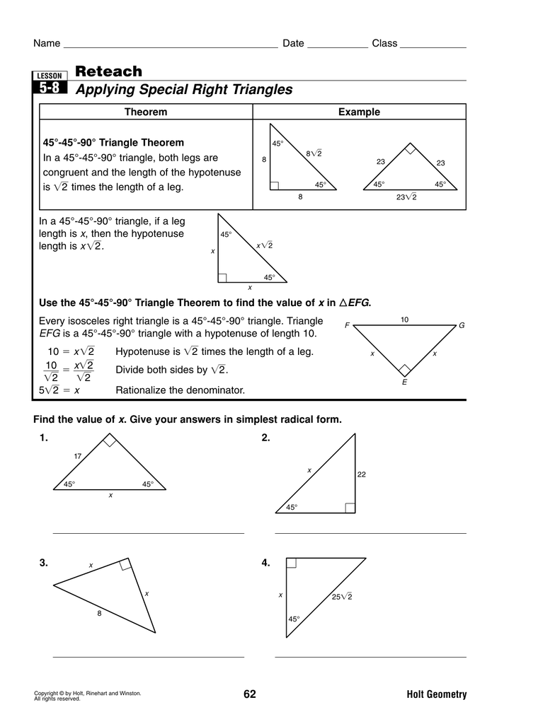 applying special right triangles worksheet the best and most comprehensive worksheets. Black Bedroom Furniture Sets. Home Design Ideas