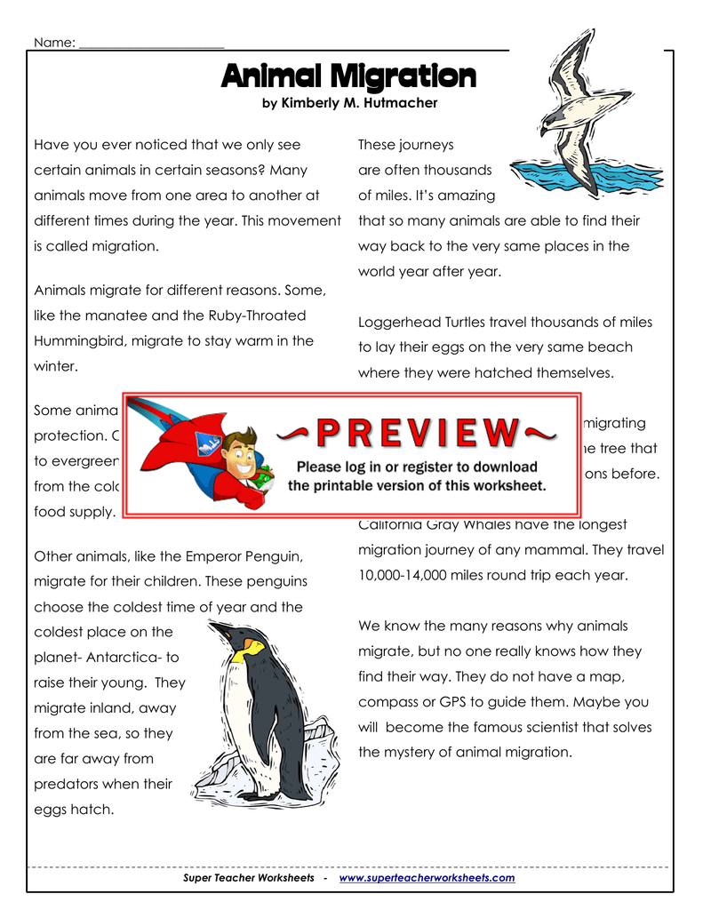 Migration Super Teacher Worksheets