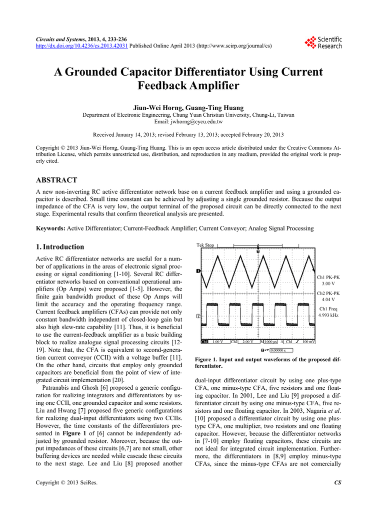 A Grounded Capacitor Differentiator Using Current Feedback