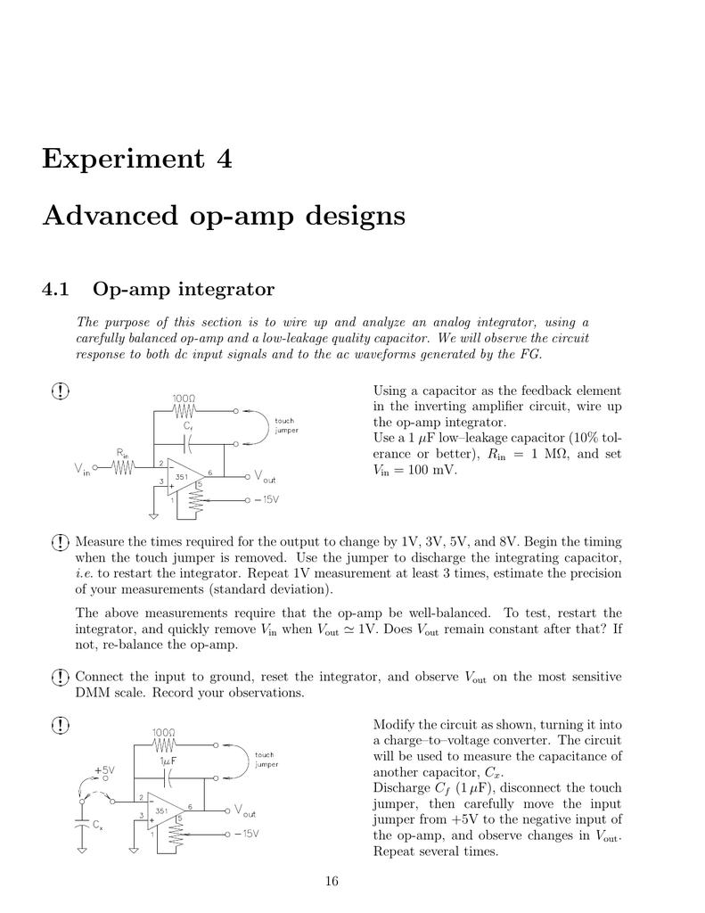 Experiment 4 Advanced Op Amp Circuit Integrator