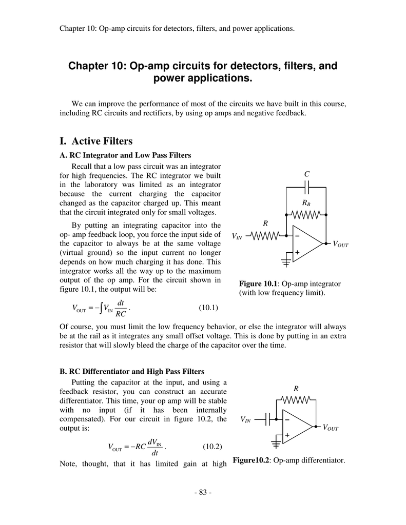 Chapter 10 Op Amp Circuits For Detectors Filters And Capacitor Input Filter Circuit