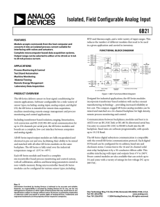 6B21 Isolated, Field Configurable Analog Input Data Sheet (REV. 0)