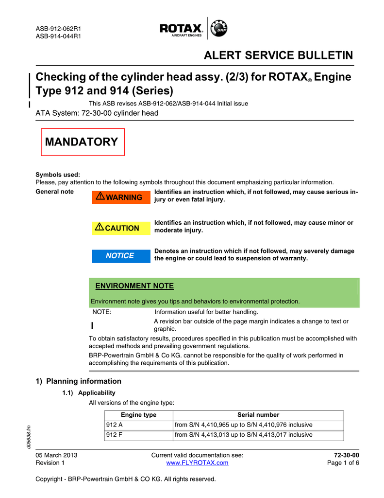 Rotax Mandatory Alert Sb Asb 914 044 No Aircraft Engine Diagram