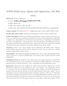 MATH 2210Q Linear Algebra with Applications, Fall 2016