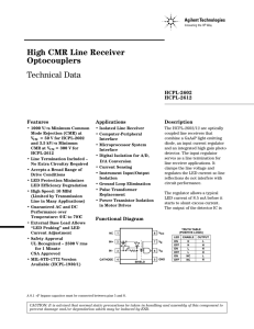 High CMR Line Receiver Optocouplers Technical Data