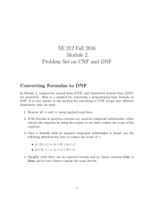 SE 212 Fall 2016 Module 2 Problem Set on CNF and DNF