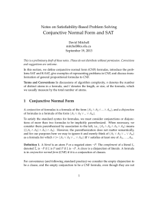 Conjunctive Normal Form and SAT