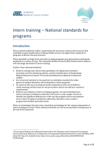 Intern training - National standards for programs