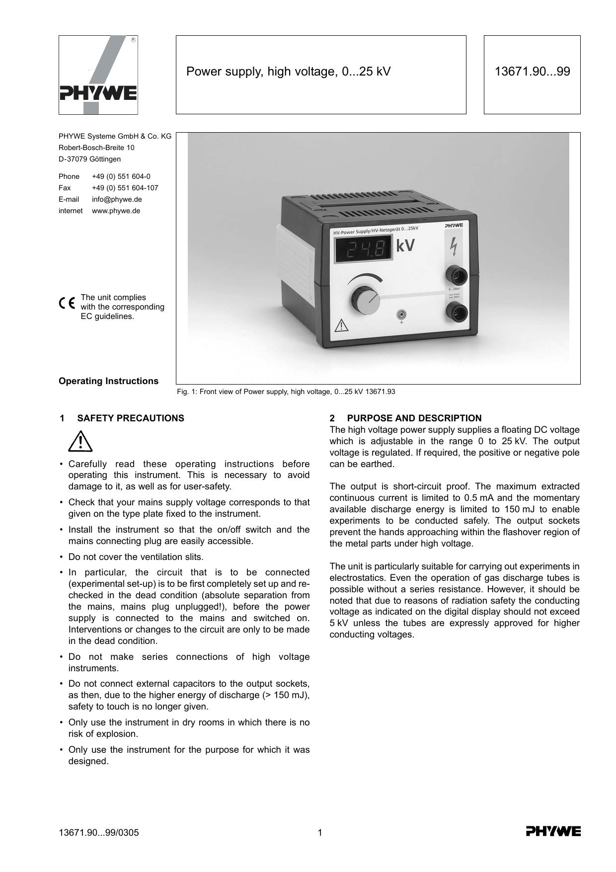 13671 90   99 Power supply, high voltage, 0   25 kV