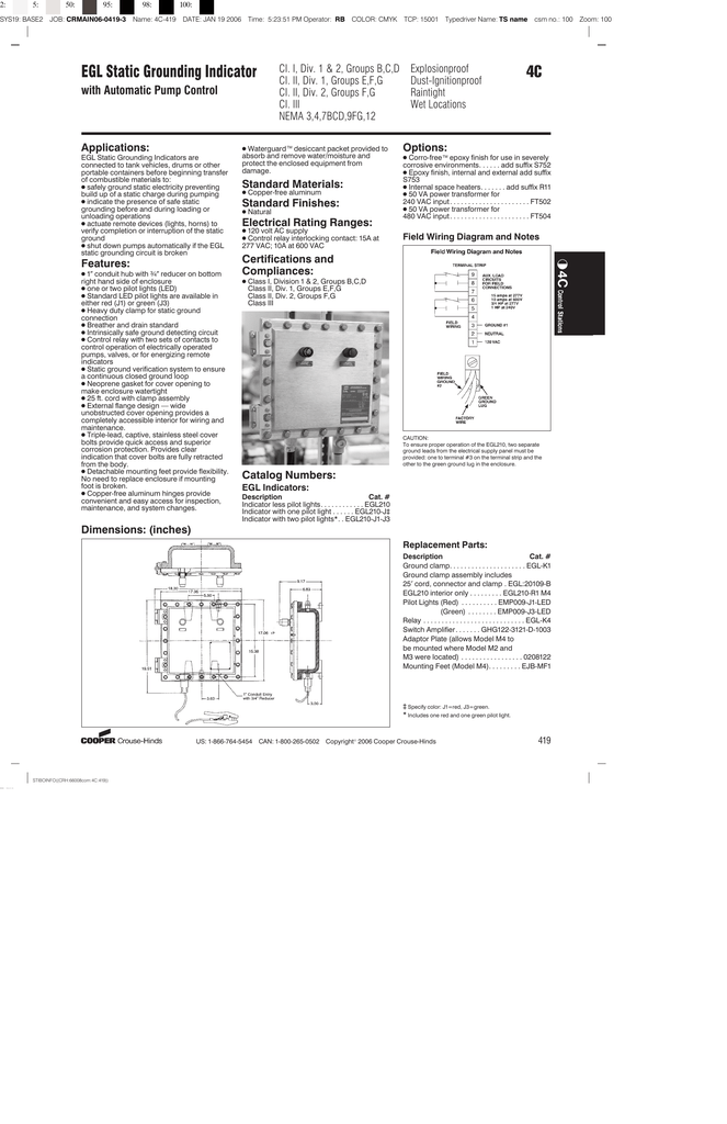 4C EGL Static Grounding Indicator M Cooper Wiring Diagram on cooper lighting diagrams, delta faucet diagrams, ge diagrams,
