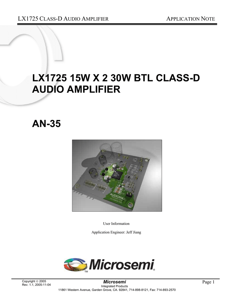 Lx1725 15w X 2 30w Btl Class D Audio Amplifier An 35 Figure 1 Schematic For A Stereo Classd Power