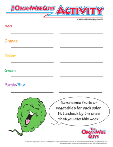 Red Orange Yellow Green Purple/Blue Name some fruits or