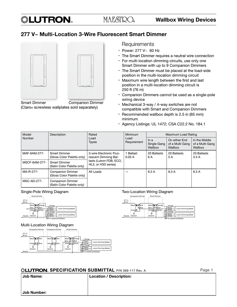 277 V~ Multi-Location 3-Wire Fluorescent Smart Lutron Dimmer Switches Wiring Diagram Msc Ad on