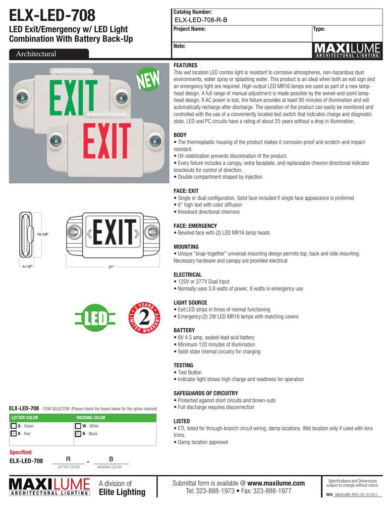 Elx Led 708 Exit Sign Wiring Diagram 120v 277v