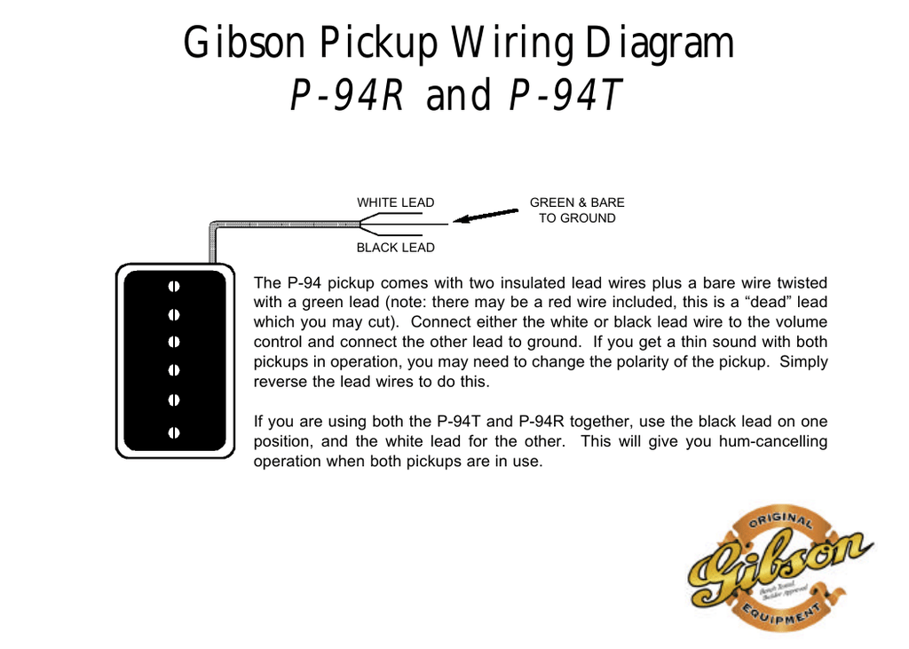 gibson t wiring diagram wire get image about wiring diagram gibson pickup wiring diagram p 94r and p 94t