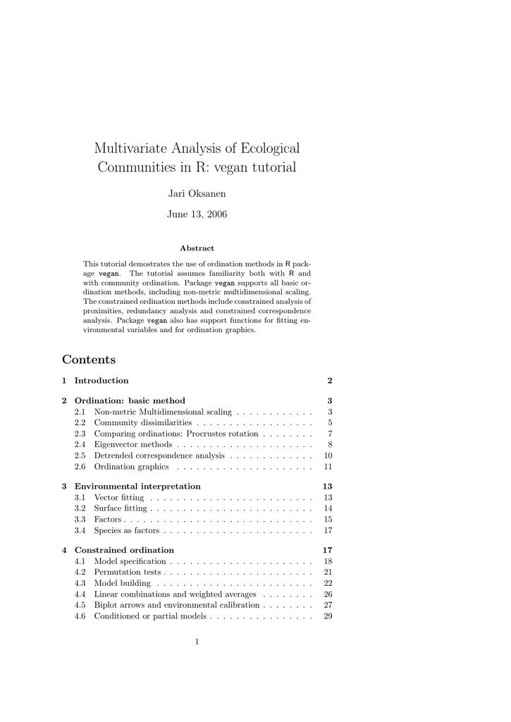 Multivariate Analysis of Ecological Communities in R: vegan