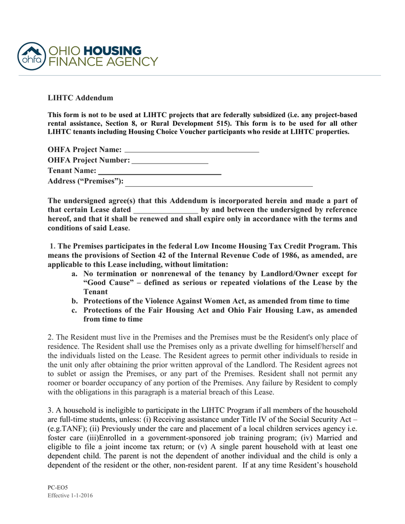 Revised LIHTC Lease Addendum – Rental Assistance Form